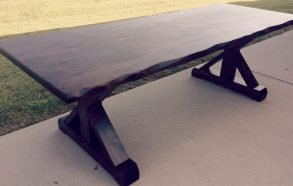 Custom Farmhouse Trestle Table | Hand Carved Live Edge Table Frisco