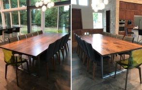 Black Walnut Wood & Steel Table | Modern Dining Table Oak Point