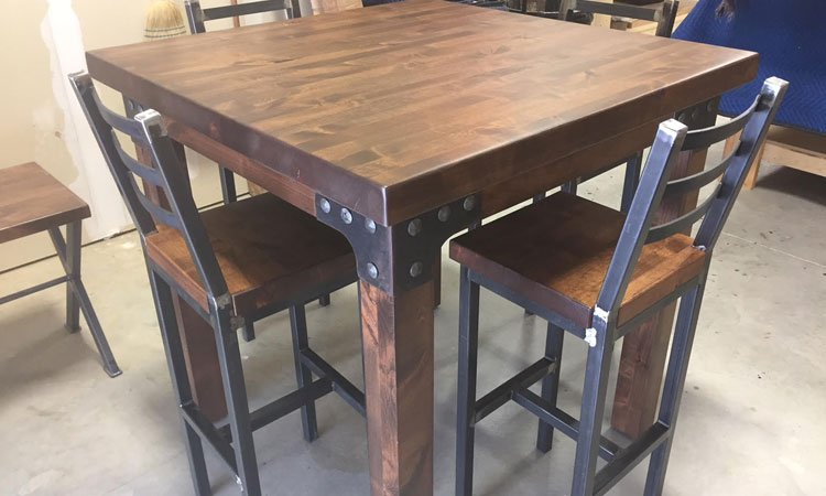 Custom Butch Block Wood Table with Raw Steel Metal Gussets w/Forged Nail Heads in Aubrey tx